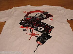 Boys youth kids Volcom Stone short sleeve white red black  TEE logo XL t shirt