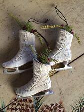 Set of 3 ~ ICE SKATE ORNAMENT PRIMITIVE COUNTRY DECOR ~ ICE SKATE~ RUSTIC