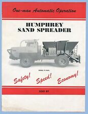VINTAGE - HUMPHREY SAND SPREADER MODEL 7Y-2APL BROCHURE - 1940's