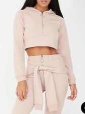 14 #ZIP FRONT CROPPED HOODIE - NUDE PINK Size 12 RRP£27.99