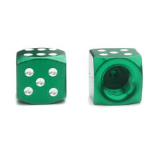 2x Green Dice Tire Valve Stem Caps Aluminum f/ Motorcycle Bike BMX Hot Rod Moped