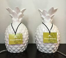 2 TOMMY BAHAMA PINEAPPLE WHITE CERAMIC NIGHLIGHT TABLE LAMPS BRAND NEW W/  TAG