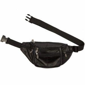 Black Fanny Pack Sheep Leather Waist Bag Pack for Men Women Travel Pouch Bag