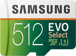 SAMSUNG EVO Select 512GB microSDXC UHS-I U3 100MB/s Full HD & 4K UHD Memory Card