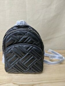 NWT Authentic Michael Kors ABBEY Quilted Black Leather Backpack
