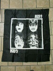 "KISS~DYNASTY ALBUM COVER ART BLACK & WHITE FABRIC TAPESTRY 40"" X 45"" USED BUT VG"