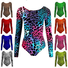 GIRLS LEOPARD PRINT LEOTARDS NEON GYMNASTICS SCHOOL SWIMMING BALLET PE LEOTARD