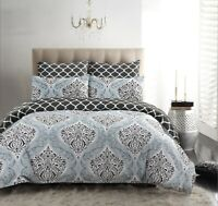 DAMASK SILVER PRINTED DUVET COVER QUILT BED SET 200TC 100% COTTON DOUBLE KING