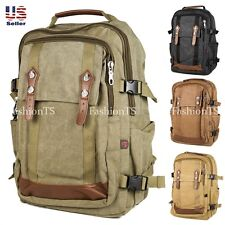 Durable Military Canvas Backpack School Bag Bookbag Hiking Travel [Discontinued]