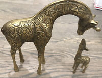 Set Of 2 Vintage Brass Giraffes - Parent & Child
