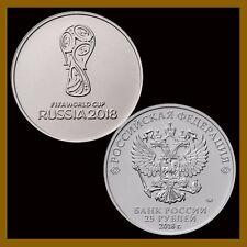 Russia 25 Rubles Coin, 2018 FIFA World Cup, Soccer Commemorative 1st Issue UNC