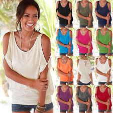 DE Damen Kurzarm Bluse Schulterfrei Top T-shirt Shirt Oberteile Hemd GR.36-44