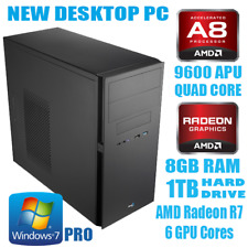 AMD A8 9600 Quad Core 8GB DDR4 1TB Gaming PC Computer Windows 7 Pro Wi-Fi