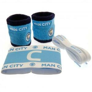 Manchester City FC Accessories Set 1 Arm Band 2 Wristbands 1 Pair Laces Official