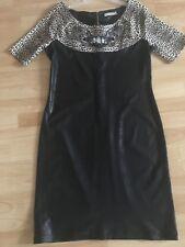Damen Designer Kleid STEFANO Größe 42 - 44  schwarz-Leo
