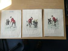 Vintage Hand Painted Golf Prints - 3