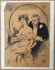 Dessin Original Encre Calque Illustration Scene Galante Seduction Caroly 1910S