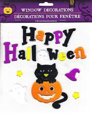 Halloween Gel Window Cling Stickers 23 Piece ~Happy Halloween Cat Ghosts Pumpkin