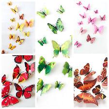 12 Stück 3D Schmetterlinge grün gelb Wandtattoo braun rot Sticker Magnet rosa