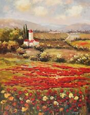 Scenery Village W/.Lush Field of Red Poppies Oil Painting on canvas Hand signed.