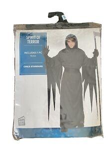 Children's Grim Reaper Spirit Of Terror Costume Scary Kids Ghost Halloween NEW