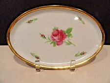 Dresden Oval Platter- Germany - Rose with Gold Trim - Excellent