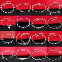 Woman 925 European sterling Jewelry Girl Silver Bracciali bracelets charms chain