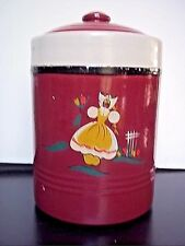 Yellow Ware Crock With Lid Cookie Jar Dark Red Hand Painted 9""