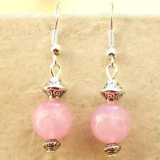 Rose Quartz Gemstone Earrings Sterling Silver Hooks New Pair Drop Dangly LB210