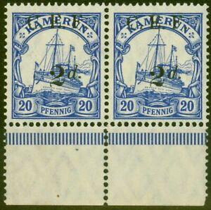 Kamerun 1915 2d Auf 20pf Ultramarinblau SGB4a Suchbegriff Doppel One Albino V.F