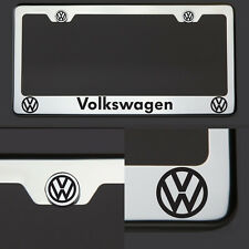 Chrome T304 License Plate Frame Volkswagen Vw Black Letter Laser Etched Engraved