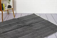 Fair Trade Teppich Indisch Recycelt Handgewebte Baumwolle Geflochten Matte Black