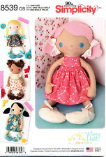 "SIMPLICITY SEWING PATTERN 8539 15""/38CM RAG, CLOTH, STUFFED DOLLS & CLOTHES"