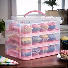 VonShef Pink 3 Tier Locking 36 Cupcake Holder Caddy & Cake Carrier Container Box