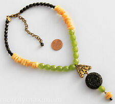 Chico's Signed Necklace Gold Tone Green Ivory Color Beads Black Carved Pendant