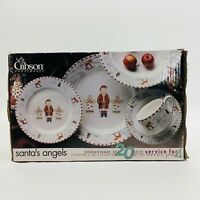 NOS Gibson Stoneware Set Santas Angels 16 Pieces Christmas Dinnerware Dishes