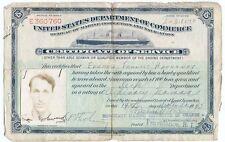 1942 US Merchant Marine Service Photo ID Paper