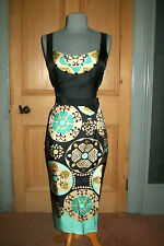 "GORGEOUS PHASE EIGHT ""POIRET"" SILK PRINT EVENING DRESS, SIZE 14"