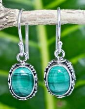 Handmade Sterling Silver .925 Bali Oval Dangle Earring w Malachite Gemstone, #3