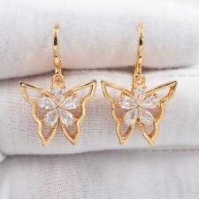 18K Yellow Gold Filled Women Clear Mystic Topaz Butterfly Earrings Jewelry