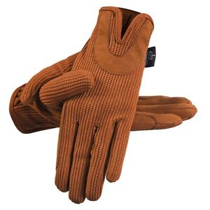 Ladies All Day Horse Riding Gloves Quality Dublin Track Shires Equestrian Brown