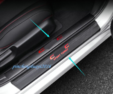 Carbon Fiber leather Side Door Sill Guards Plate For Honda Civic 10th 2016-2019
