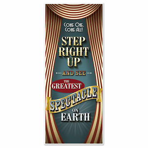 Vintage Circus Themed Party Decoration Door Cover Mural