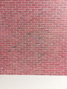 Dollhouse Miniature Red Brick Textured Embossed Card Stock Paper 1:12 Scale