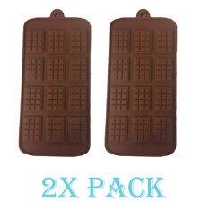 Set x 2 Silicone Mold Thin Mini Waffle candy Chocolate Rectangle Topping Fondant