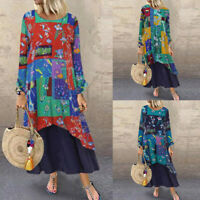 ZANZEA 8-24 Women Long Sleeve Printed Floral Dress Flare Swing Maxi Abaya Kaftan