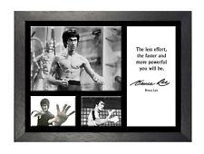 Bruce Lee 19 cita famosa leyenda de Artes Marciales Kung Fu firmado poster de imagen