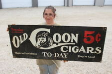 "Large Old Coon 5c Cigars To-Day Tobacco Country Store Gas Oil 48"" Metal Sign"