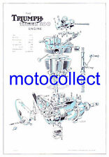 TRIUMPH 500cc Pre unit Engine..Exploded View A3 Drawing..Free Postage Worldwide