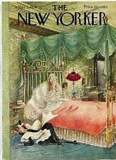 Vintage NEW YORKER Magazine Cover March 3 1956 Maid plugging in Electric Blanket